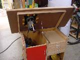 Bobino's Router Table, lifted table, left view