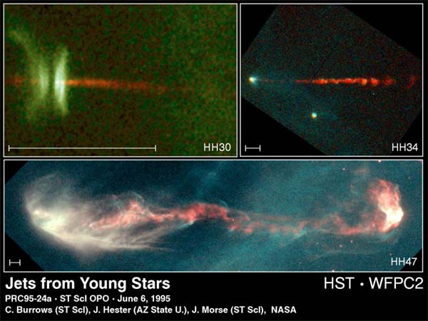 Herbig-Haro Objects HH30, HH34 & HH47
