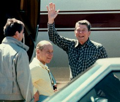 Ronald Reagan waving