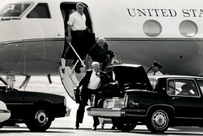 George Shultz and Colin Powell en route to Bohemian Grove