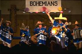 A mariachi band from the Bohemian Grove performs a benefit.