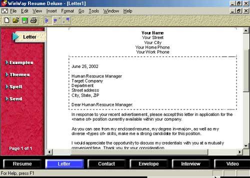 WinWay Resume Deluxe 9